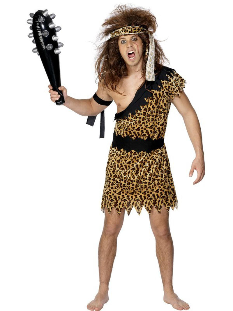3-PC-Men's-Cave-Man-Cheetah-Print-Tunic-w/-Headband-&-Armband-Party-Costume