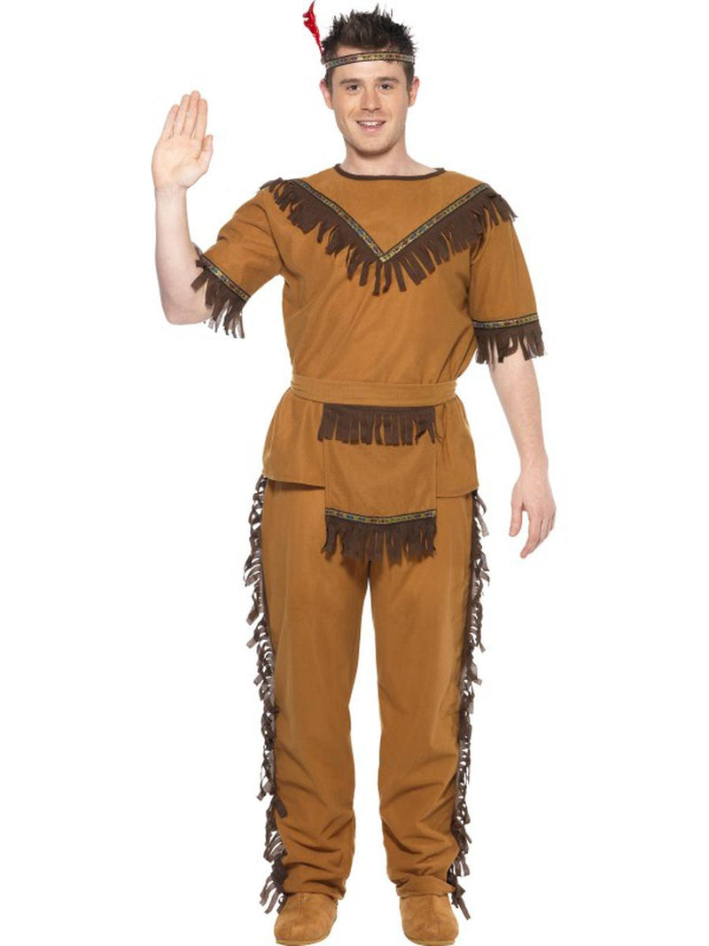 4-PC-Men's-Native-American-Indian-Fringe-Top-&-Pants-w/-Accessories-Party-Costume