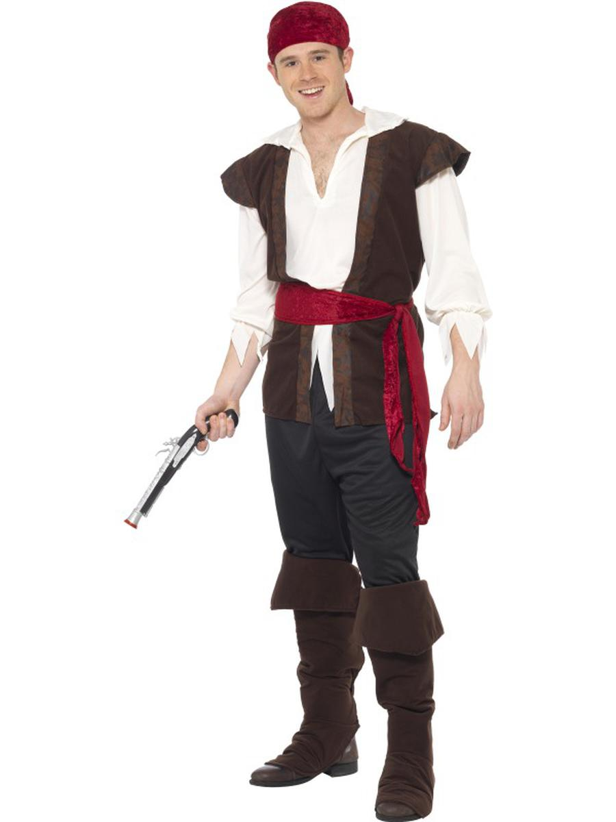 6-PC-Caribbean-Pirate-Fighter-Crew-Member-Top-&-Pants-w/-Accessories-Costume