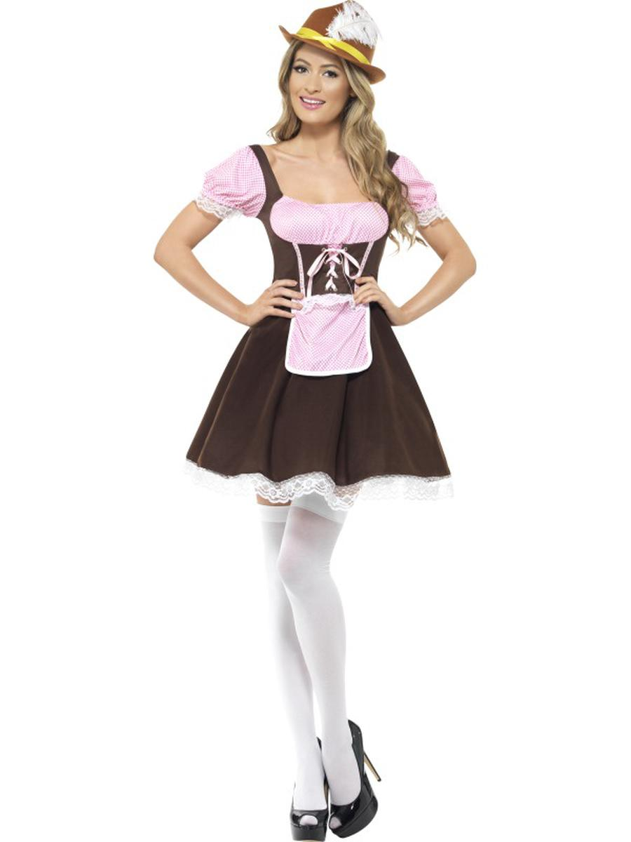 1-PC-German-Bavarian-Oktoberfest-Brown-and-Pink-Apron-Dress-Party-Costume-