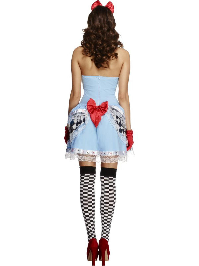 2 PC Heart Queen Miss Wonderland Blue Dress & Hair Bow Party Costume - Fest Threads