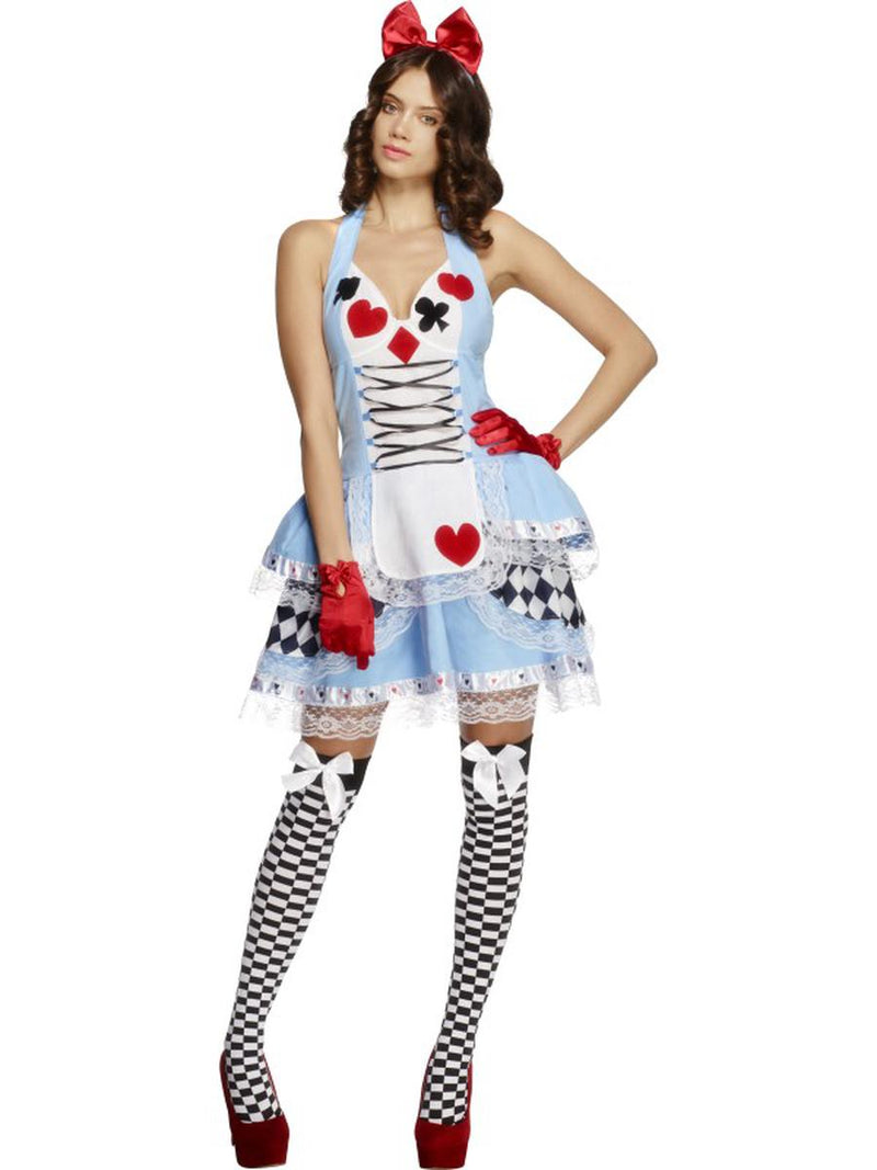 2-PC-Heart-Queen-Miss-Wonderland-Blue-Dress-&-Hair-Bow-Party-Costume