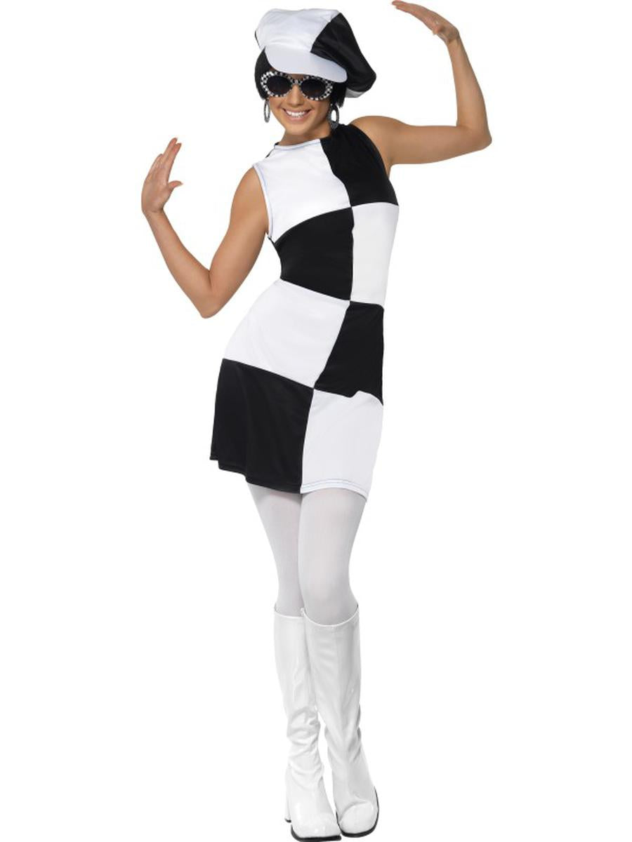 2-PC-1960s-Mod-Retro-Party-Gal-Black-&-White-Colorblock-Dress-w/-Hat-Costume