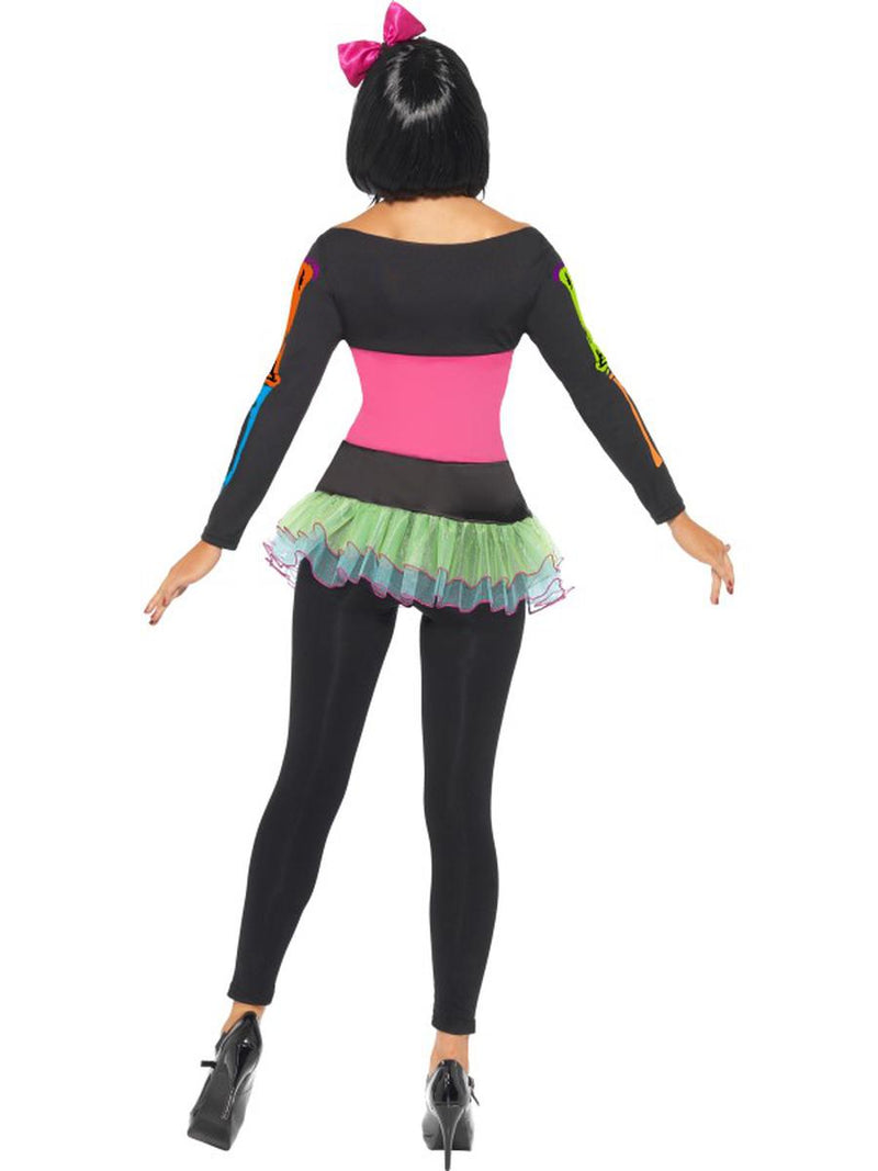 2 PC Neon Skeleton Sugar Skull Day of the Dead Dress w/ Footless Tights Costume - Fest Threads