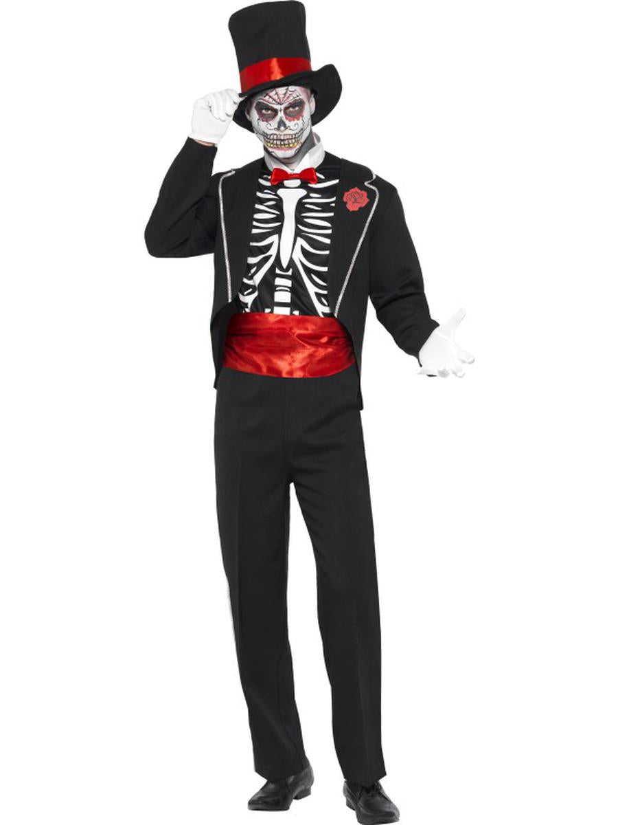 3-PC-Skeleton-Skull-Day-of-the-Dead-Jacket-Mock-Shirt-w/-Accessories-Costume-