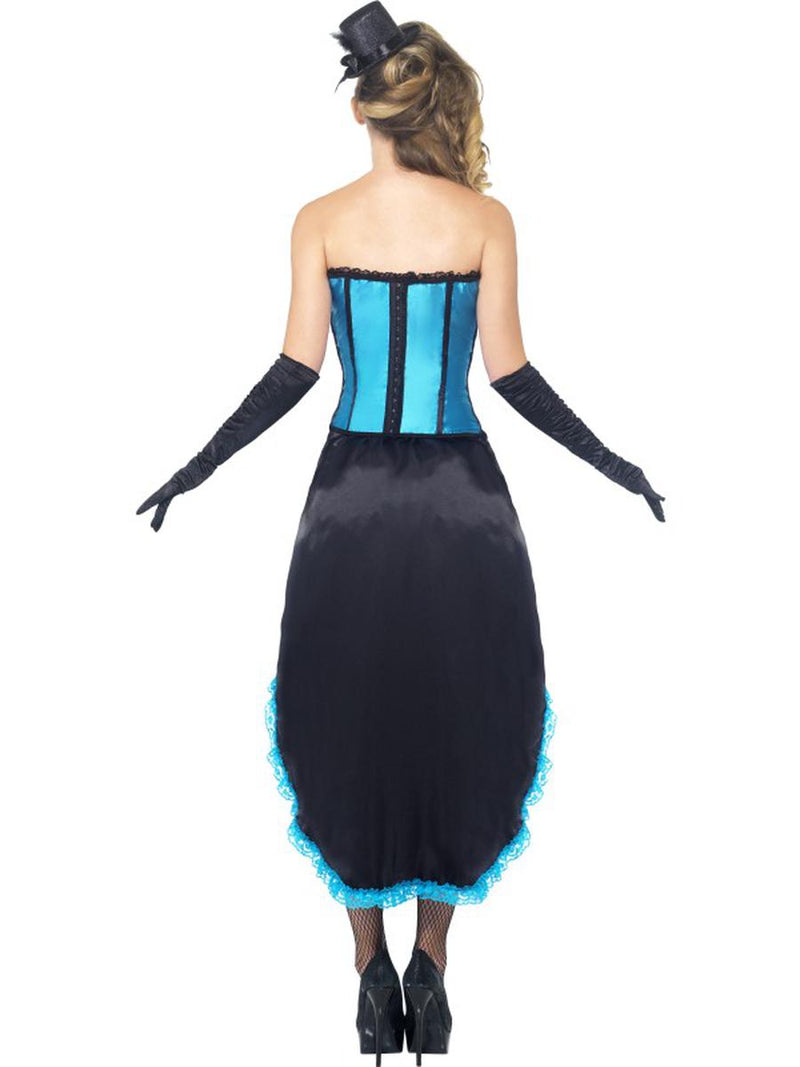 2 PC Burlesque Madam Dancer Blue Corset Top & High Low Skirt Party Costume - Fest Threads