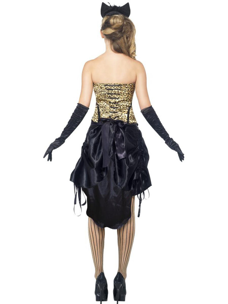 2 PC Burlesque Madam Dancer Leopard Print Corset Top & High Low Skirt Costume - Fest Threads