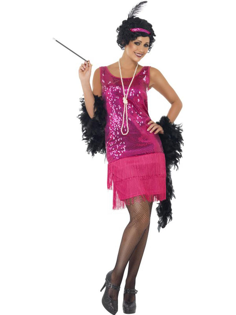 3-PC-1920s-Flapper-Gatsby-Girl-Hot-Pink-Sequin-Dress-w/-Accessories-Costume-