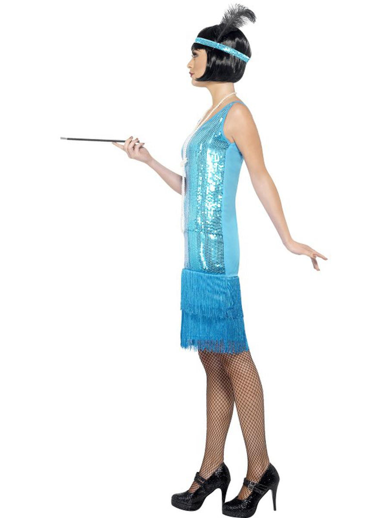 3 PC 1920s Flapper Gatsby Girl Teal Sequin Dress w/ Accessories Party Costume - Fest Threads