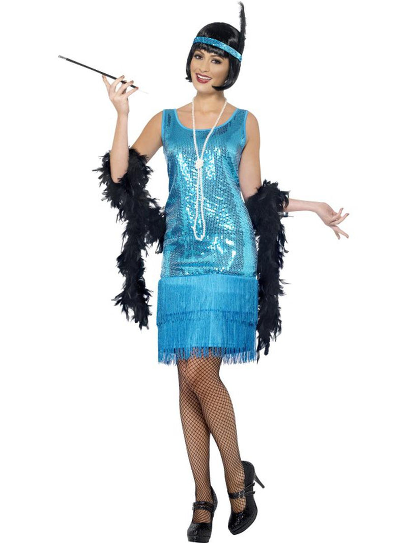3-PC-1920s-Flapper-Gatsby-Girl-Teal-Sequin-Dress-w/-Accessories-Party-Costume-