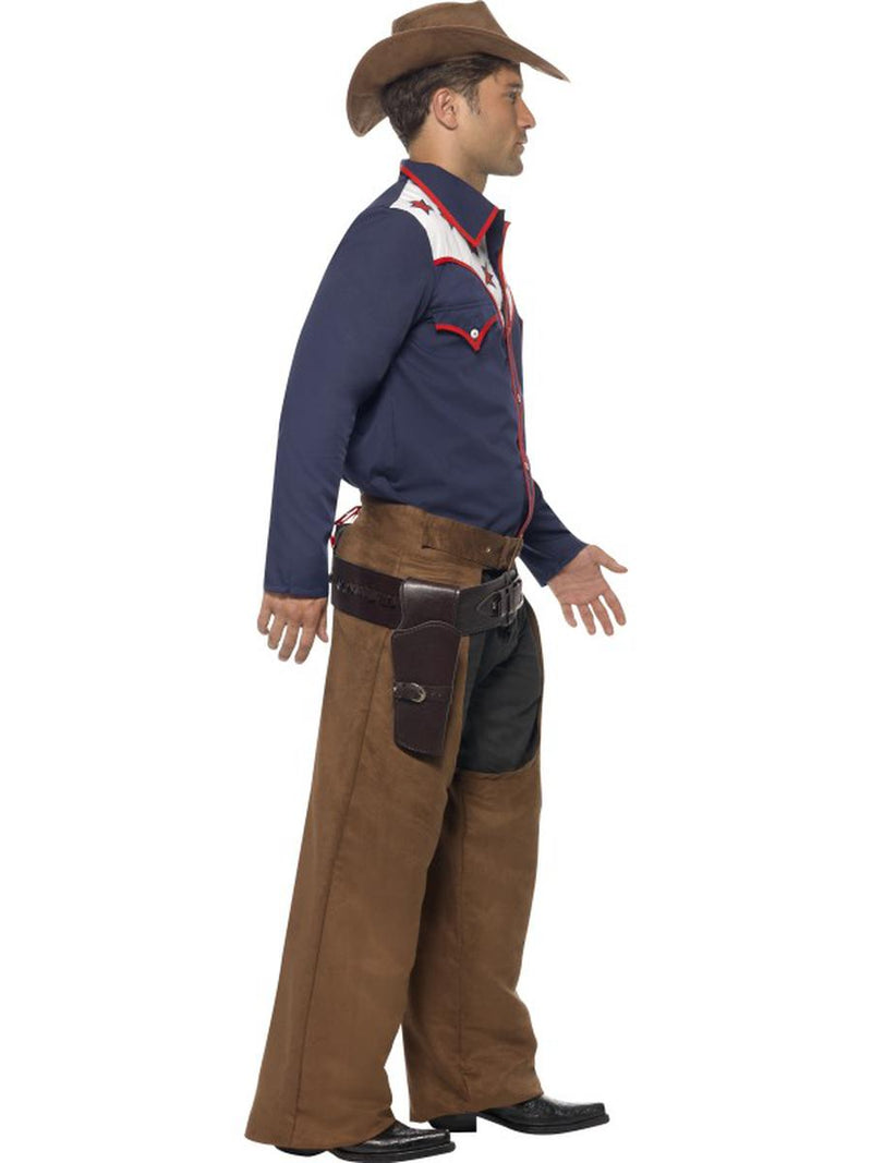 3 PC Men's Western Rodeo Cowboy Shirt & Chaps w/ Hat Party Costume - Fest Threads