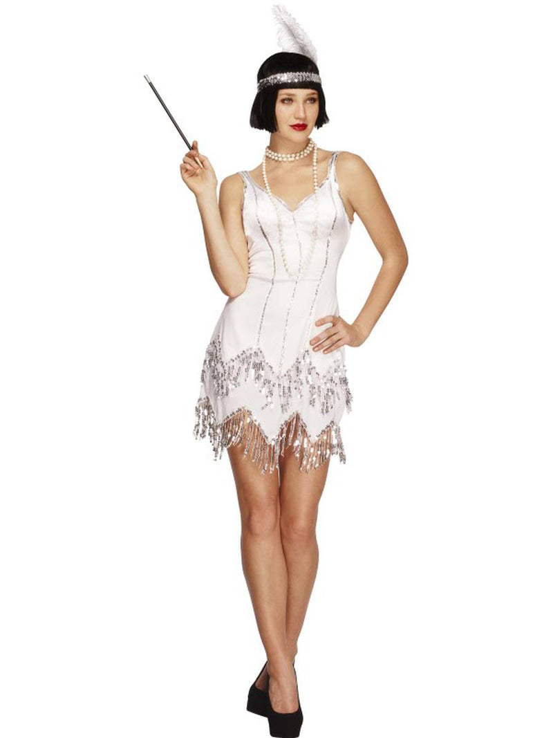 2-PC-1920s-Flapper-Gatsby-Girl-White-Sequin-Dress-w/-Headband-Party-Costume