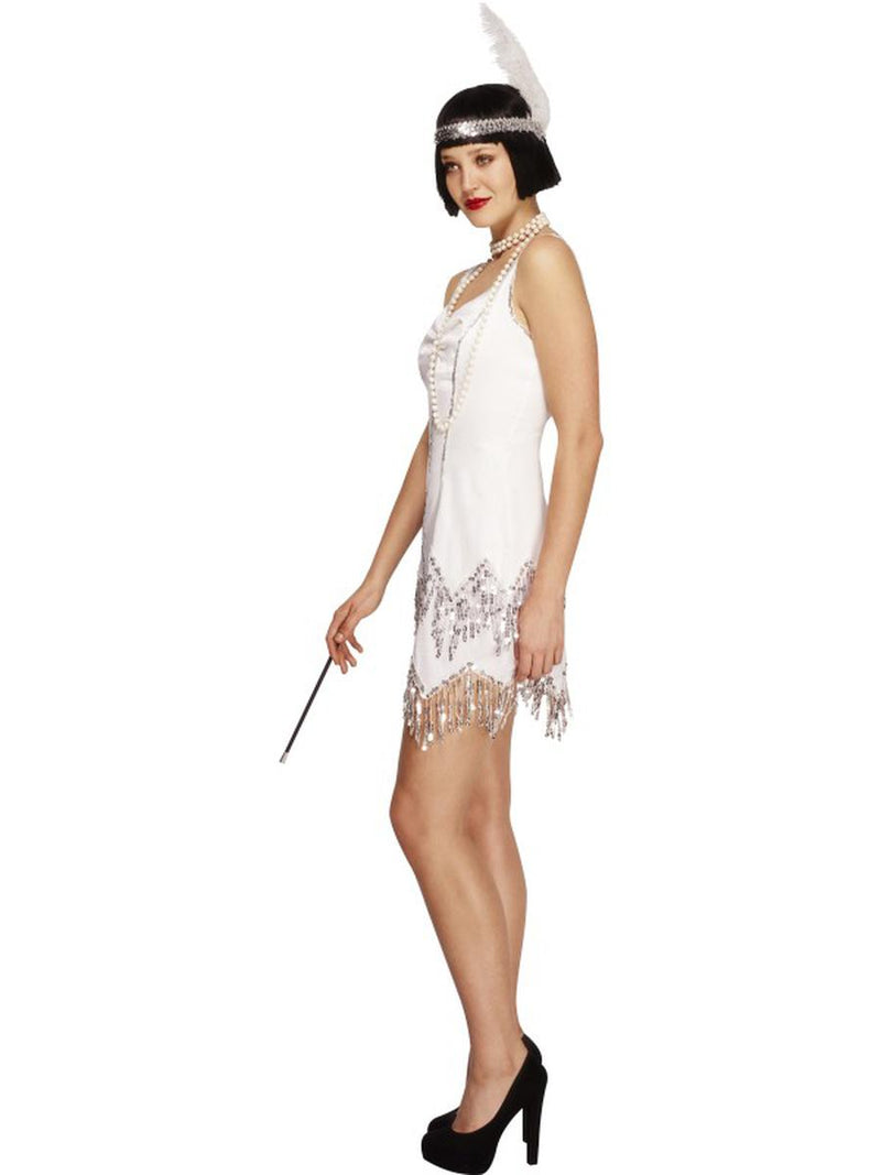 2 PC 1920s Flapper Gatsby Girl White Sequin Dress w/ Headband Party Costume - Fest Threads