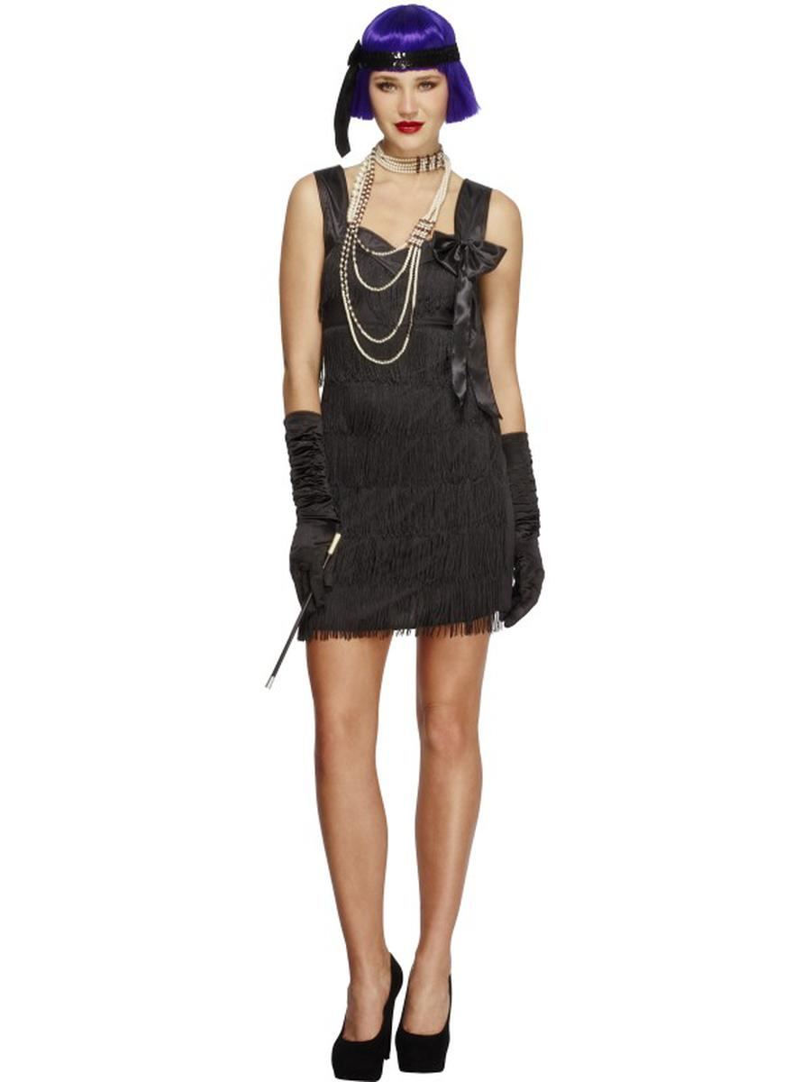 3-PC-1920s-Flapper-Gatsby-Girl-Black-Fringe-Bow-Dress-w/-Accessories-Costume-