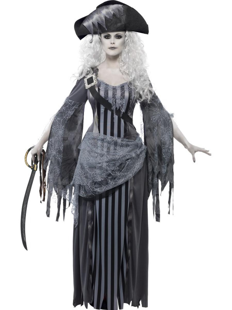 2-PC-Caribbean-Ghost-Pirate-Fighter-Gray-Maxi-Dress-&-Hat-Party-Costume