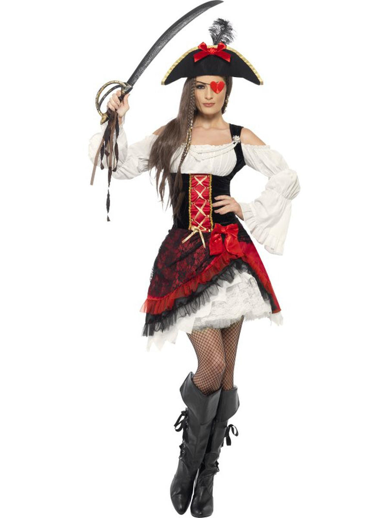 2-PC-Women's-Pirate-Red-and-Black-Long-Ruffle-Sleeve-Dress-&-Hat-Party-Costume-