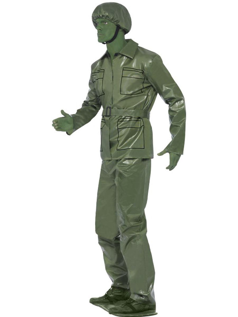 5 PC Men's Toy Soldier Military Guy Green Top & Pants w/ Accessories Costume - Fest Threads