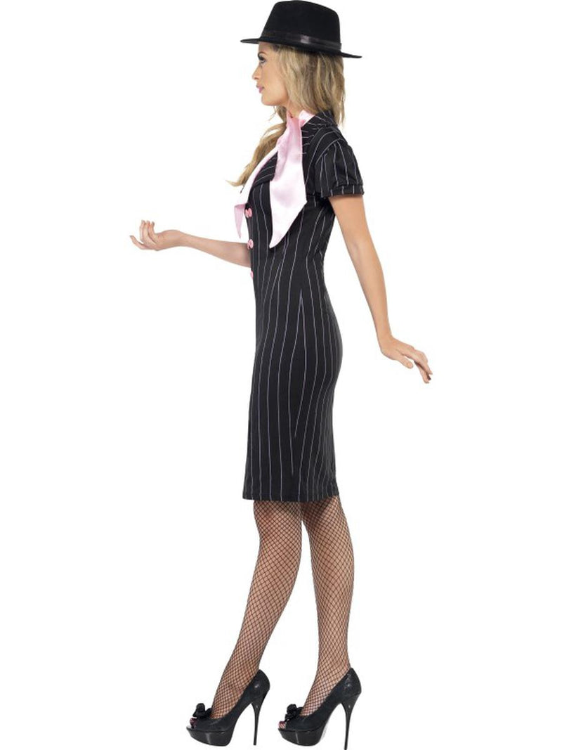 2 PC Gangster Mob Wife Pinstripe Pencil Black Dress & Pink Scarf Party Costume - Fest Threads