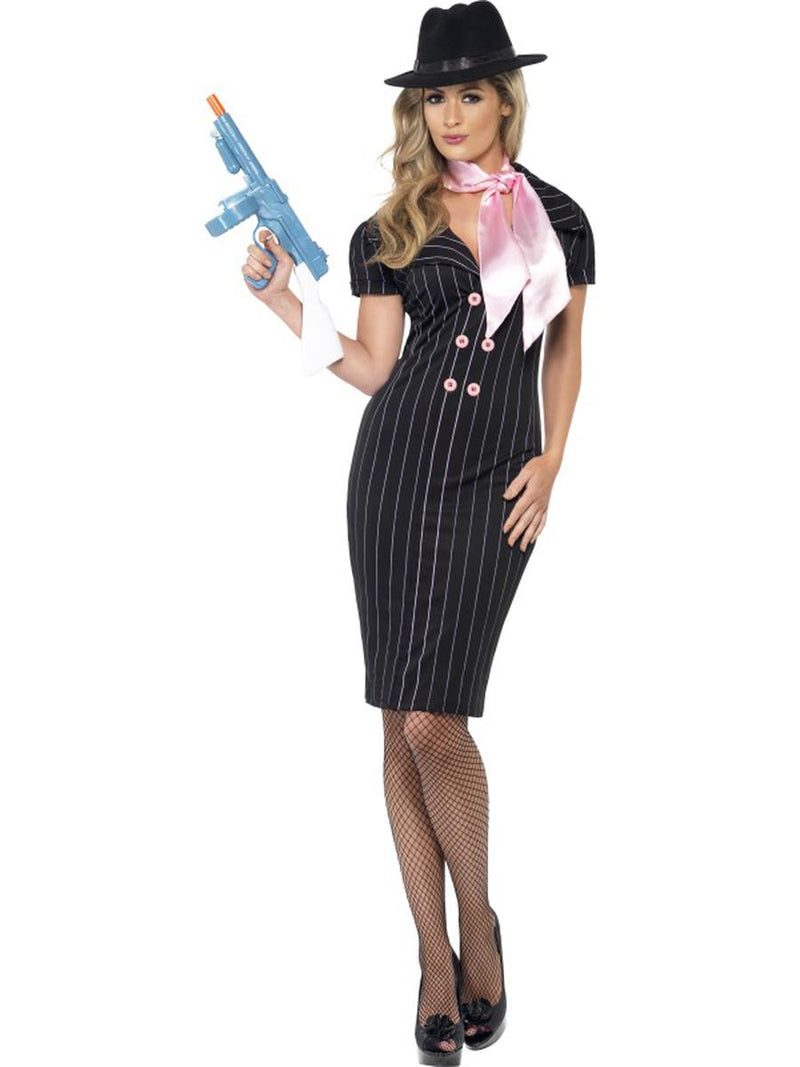 2-PC-Gangster-Mob-Wife-Pinstripe-Pencil-Black-Dress-&-Pink-Scarf-Party-Costume
