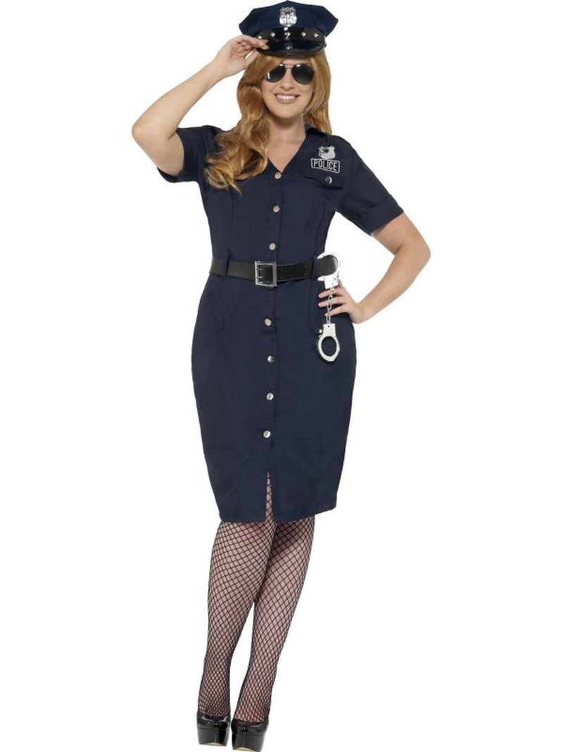3-PC-Police-Officer-Cop-Midi-Dress-w/-Belt-&-Hat-Party-Costume---Plus-Size