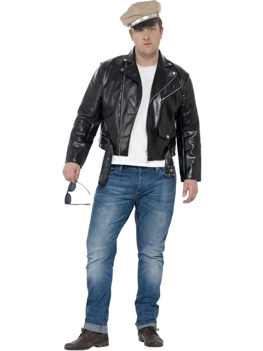 2-PC-Men's-50s-Rebel-Motorcycle-Guy-Black-Jacket-&-Hat-Party-Costume