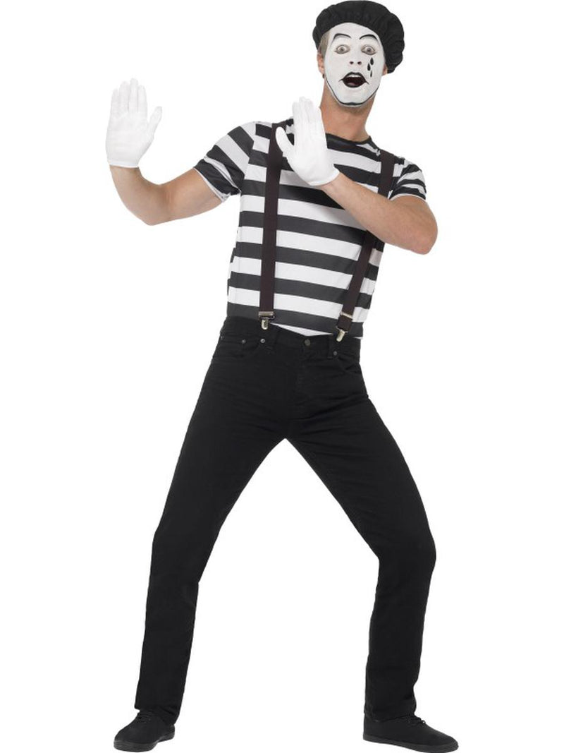 6-PC-Men's-French-Mime-Striped-Shirt-w/-Accessories-+-Make-Up-Party-Costume