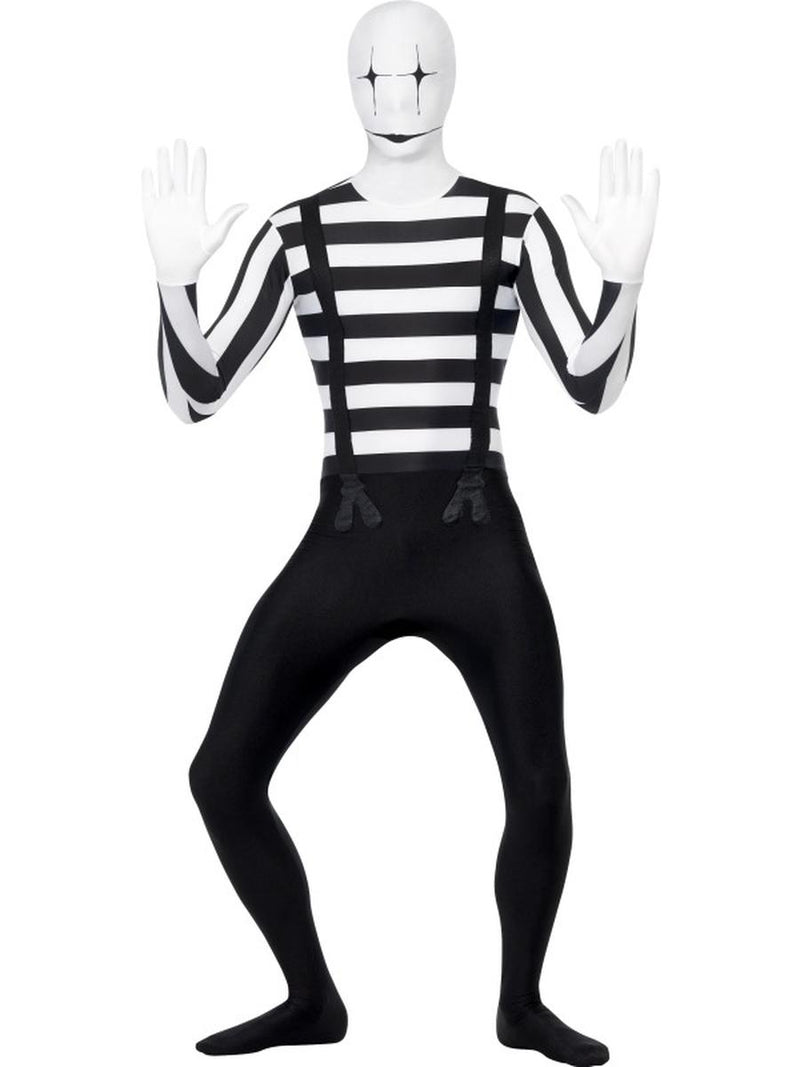 6-PC-Men's-Mime-Striped-Body-Suit-Skin-Onesie-Party-Costume