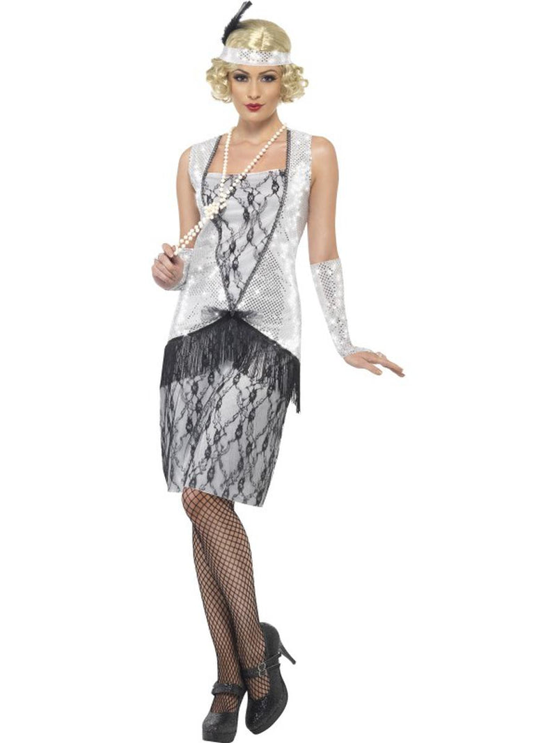 3-PC-1920s-Flapper-Gatsby-Girl-Gray-Lace-Dress-w/-Accessories-Party-Costume-