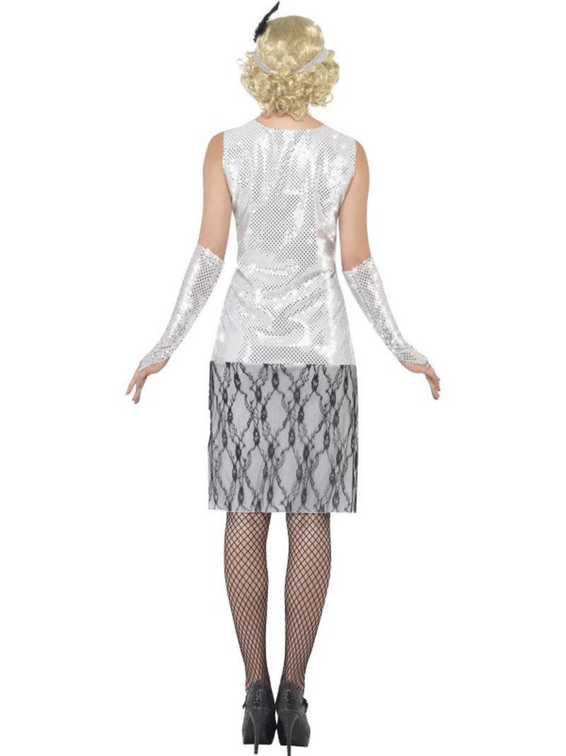 3 PC 1920s Flapper Gatsby Girl Gray Lace Dress w/ Accessories Party Costume - Fest Threads