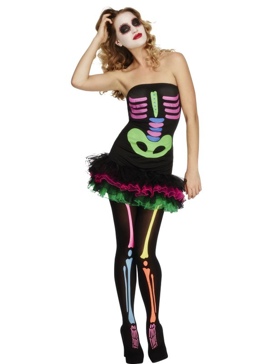 1-PC-Neon-Skeleton-Sugar-Skull-Day-of-the-Dead-Strapless-Tutu-Dress-Costume