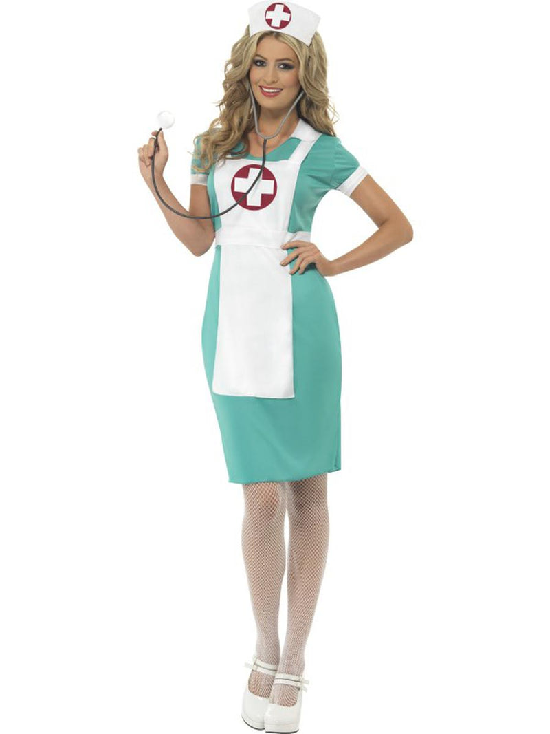 2-PC-Women's-Nurse-Medic-RN-Green-and-White-Dress-w/-Headpiece-Party-Costume