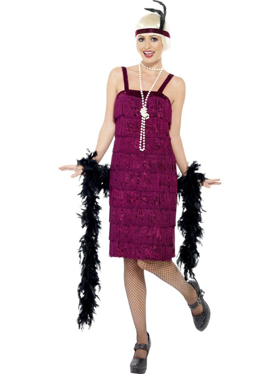 2-PC-1920s-Flapper-Gatsby-Girl-Dark-Red-Fringe-Dress-w/-Headpiece-Party-Costume