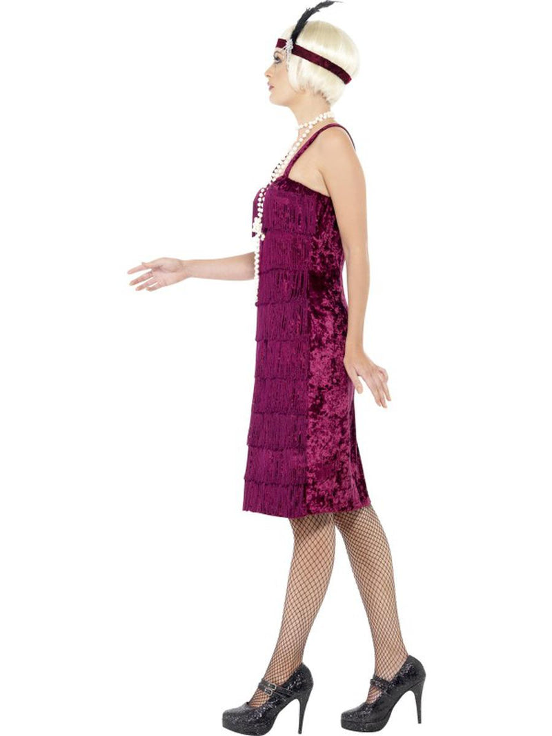 2 PC 1920s Flapper Gatsby Girl Dark Red Fringe Dress w/ Headpiece Party Costume - Fest Threads