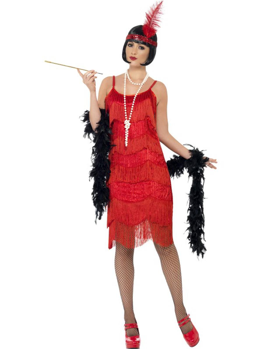 2-PC-1920s-Flapper-Gatsby-Girl-Red-Fringe-Beaded-Dress-w/-Headpiece-Costume