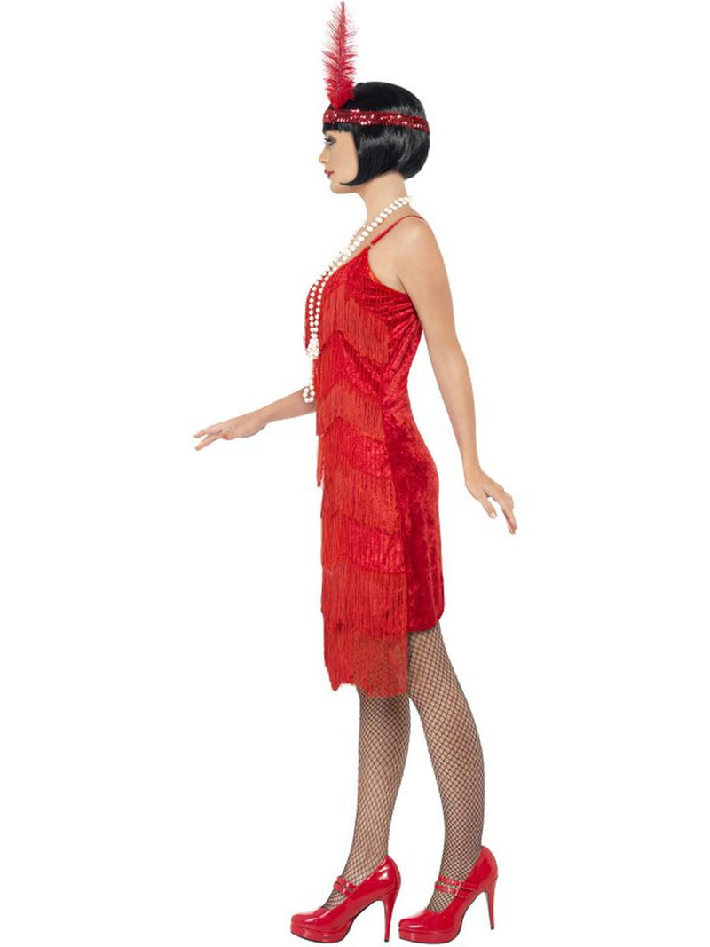 2 PC 1920s Flapper Gatsby Girl Red Fringe Beaded Dress w/ Headpiece Costume - Fest Threads