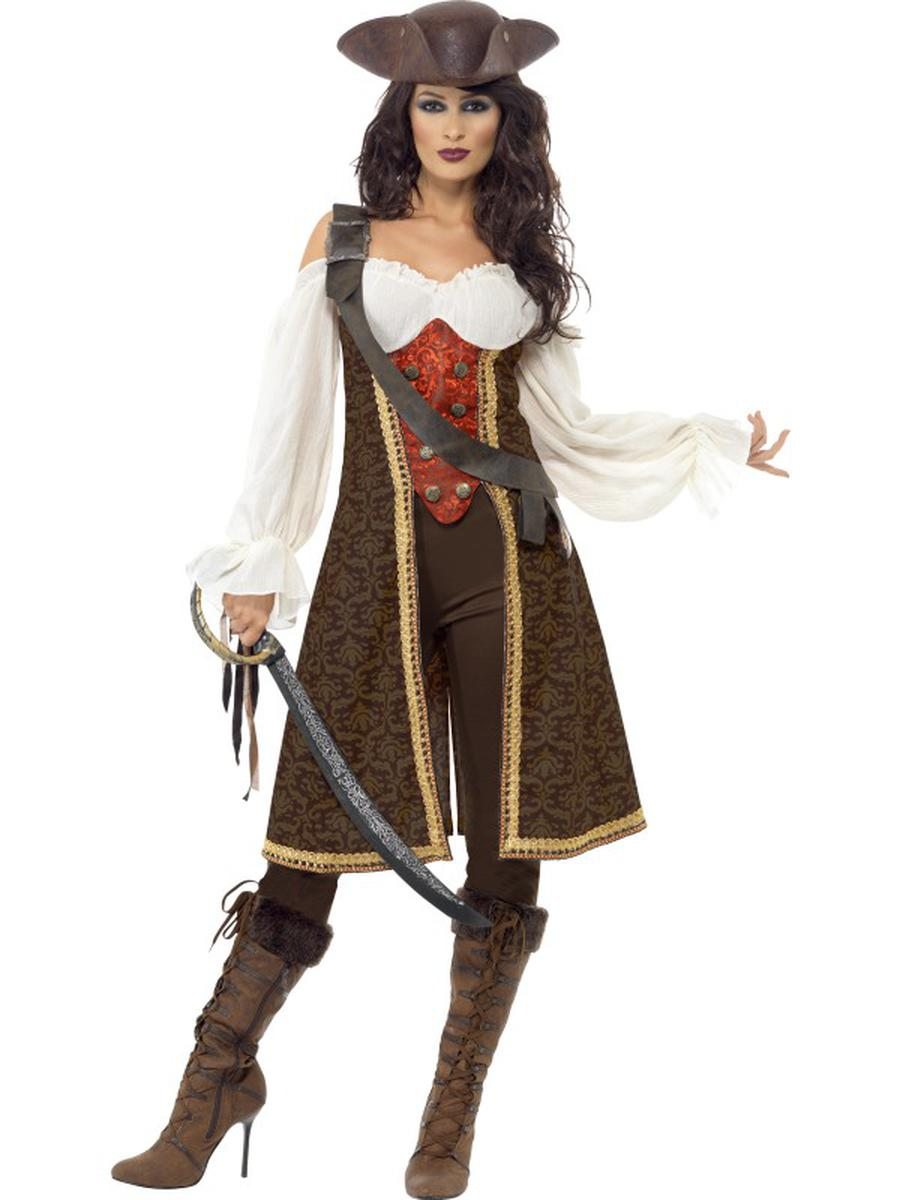 3-PC-Caribbean-Pirate-Captain-Off-the-Shoulder-Dress-&-Pants-w/-Baldric-Costume