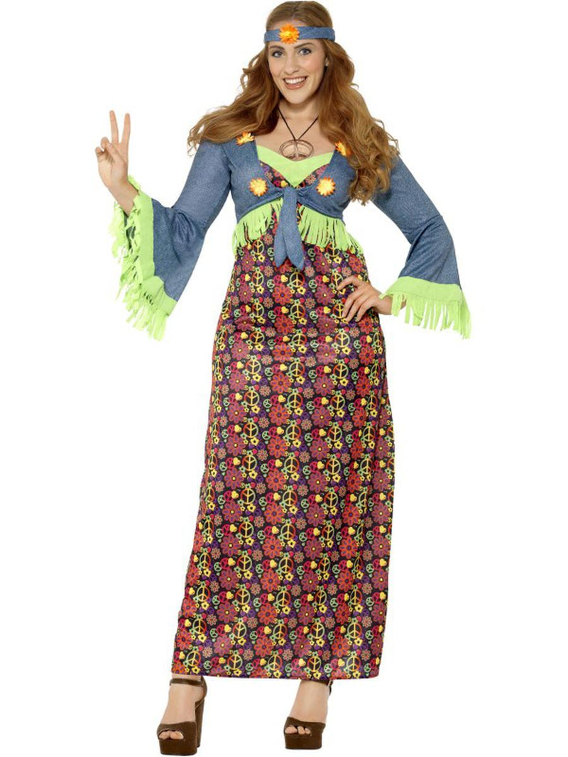 2-PC-Hippie-Flower-Child-Woodstock-Groovy-Dress-&-Headband-Party-Costume