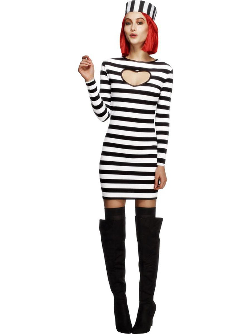 2-PC-Criminal-Jail-Bird-Prisoner-Convict-Striped-Long-Sleeve-Dress-&-Hat-Costume