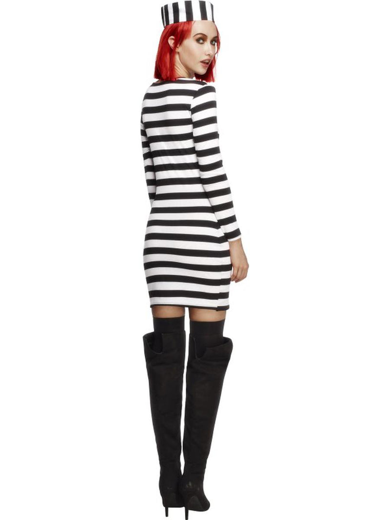 2 PC Criminal Jail Bird Prisoner Convict Striped Long Sleeve Dress & Hat Costume - Fest Threads