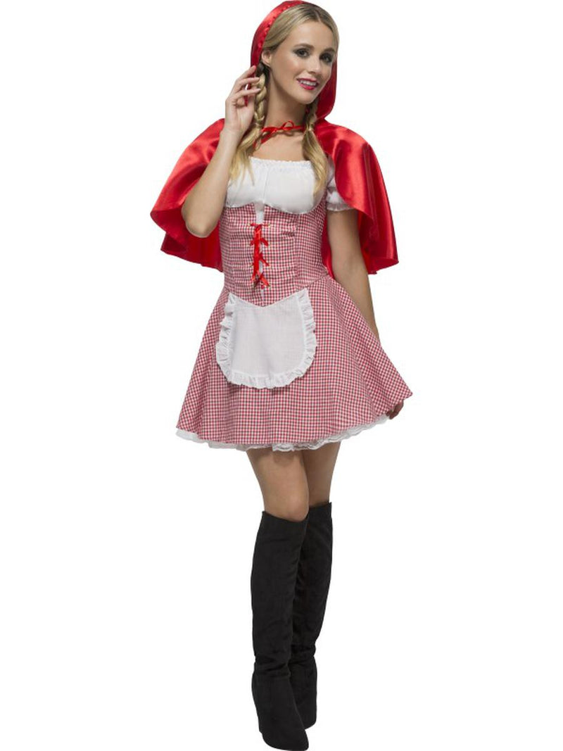 2-PC-Women's-Little-Red-Riding-Hood-Apron-Gingham-Dress-&-Hooded-Cape-Costume
