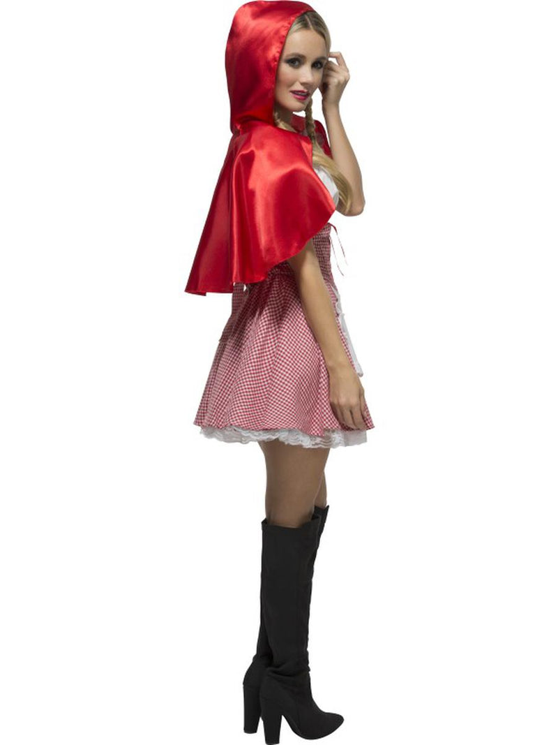 2 PC Women's Little Red Riding Hood Apron Gingham Dress & Hooded Cape Costume - Fest Threads