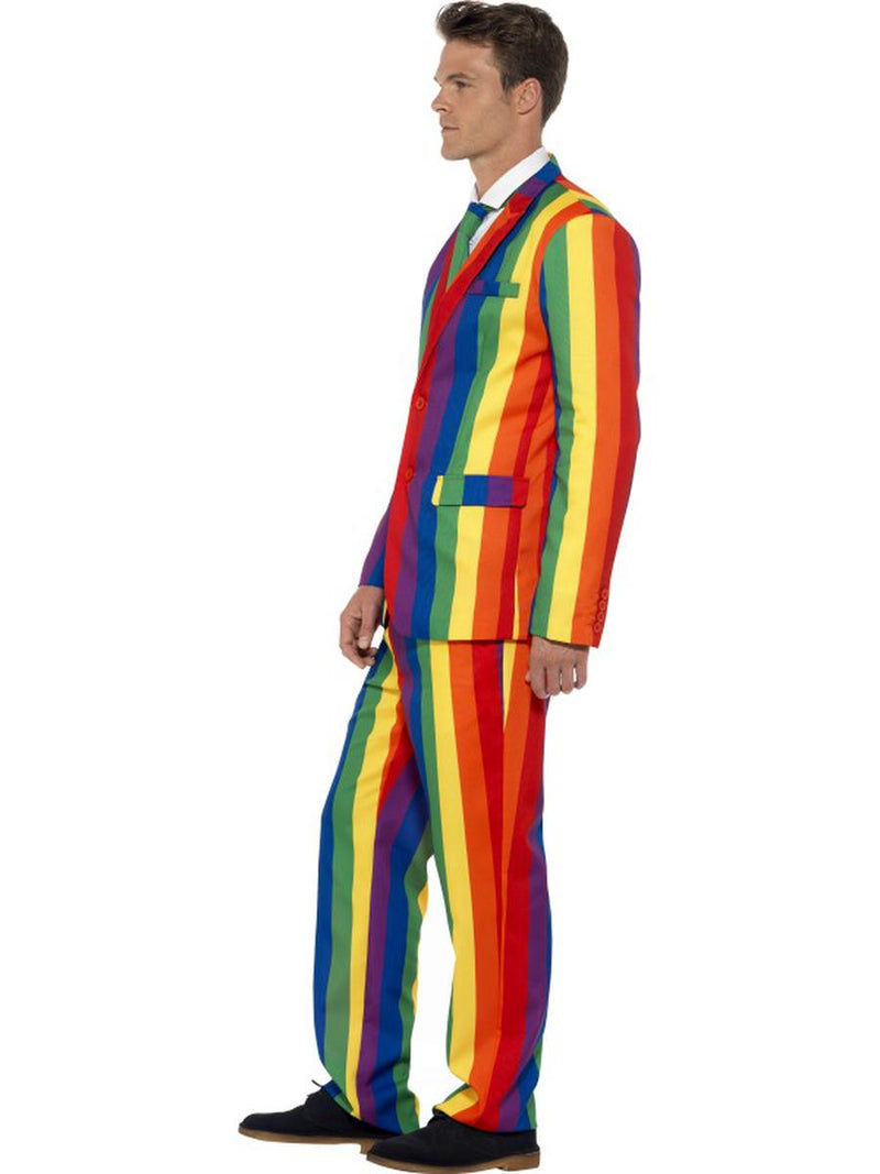 3 PC Rainbow Pride Striped Suit Jacket & Pants w/ Tie Party Costume - Fest Threads