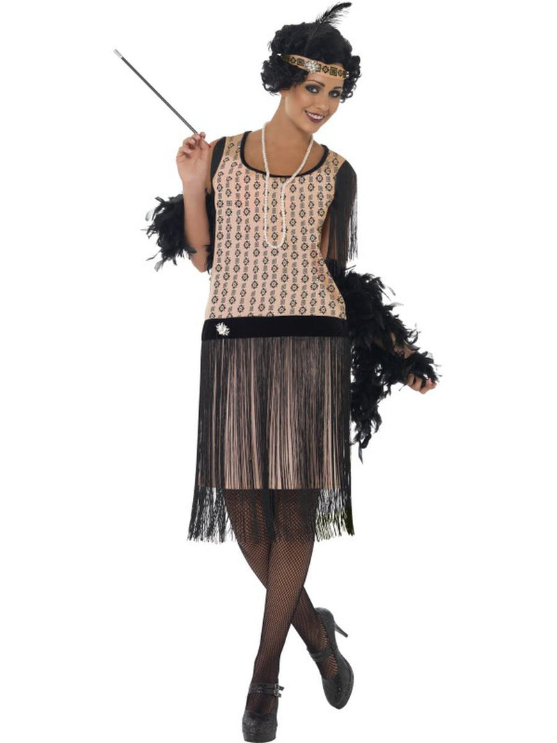 2-PC-1920s-Flapper-Gatsby-Girl-Pink-&-Black-Fringe-Dress-w/-Accessories-Costume-