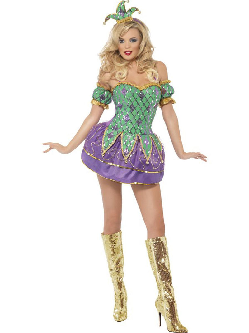 2-PC-Mardi-Gras-Green-&-Purple-Harlequin-Mini-Dress-Party-Costume