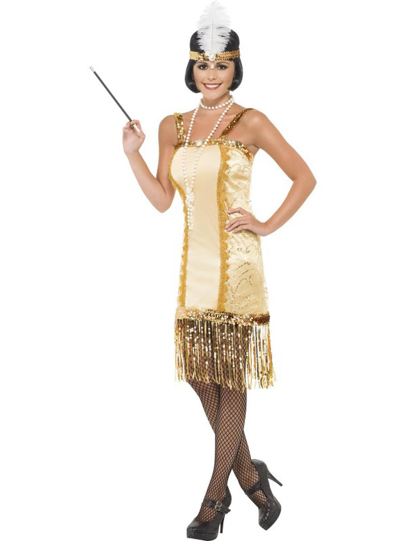 2-PC-Women's-1920s-Flapper-Gatsby-Girl-Gold-Dress-w/-Headpiece-Party-Costume