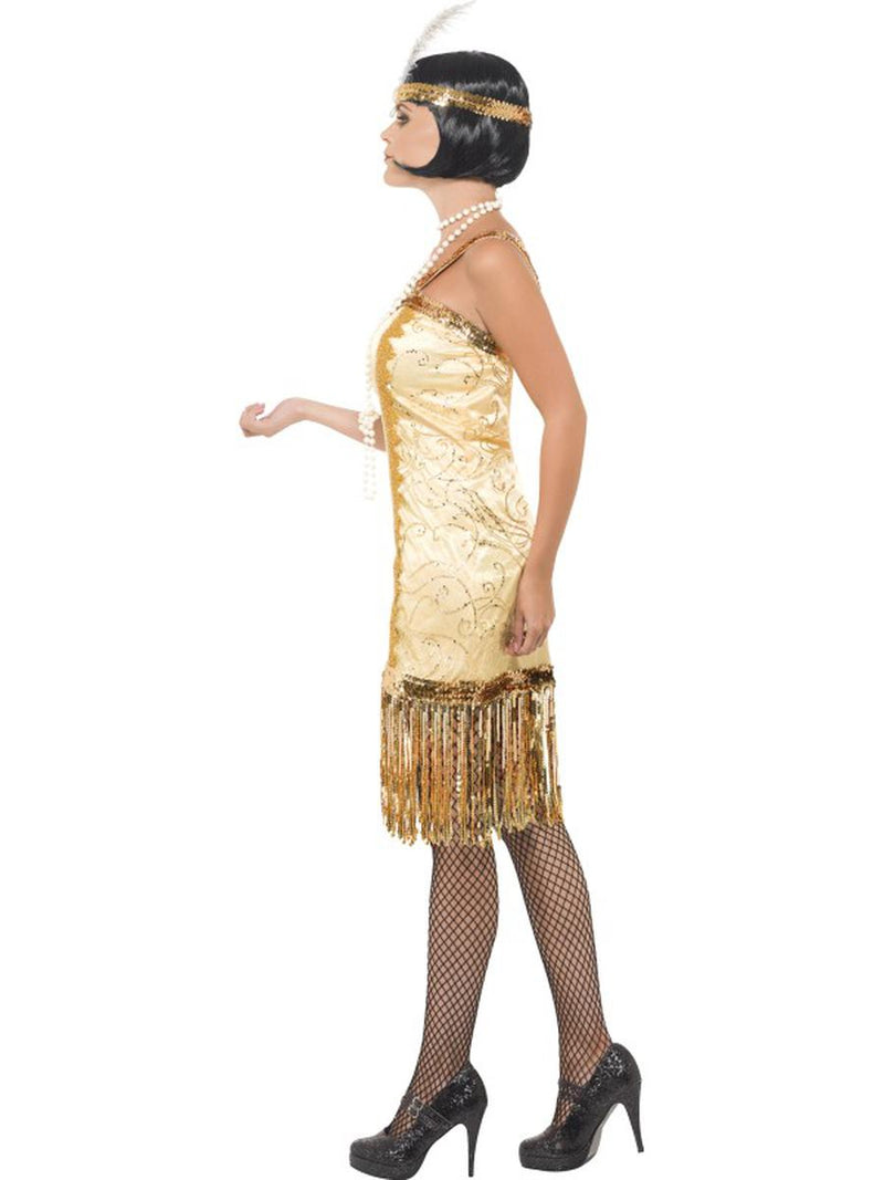 2 PC Women's 1920s Flapper Gatsby Girl Gold Dress w/ Headpiece Party Costume - Fest Threads