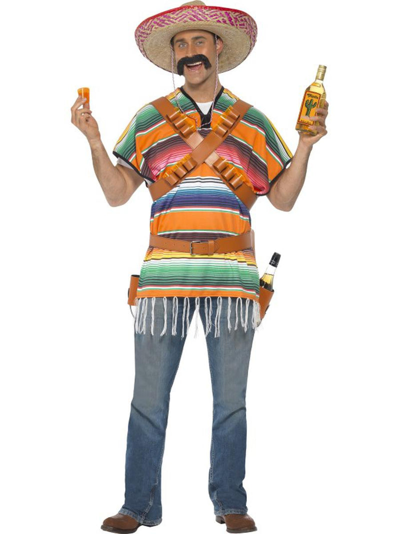2-PC-Tequila-Guy-Cinco-de-Mayo-Serape-Poncho-w/-Belt-Party-Costume