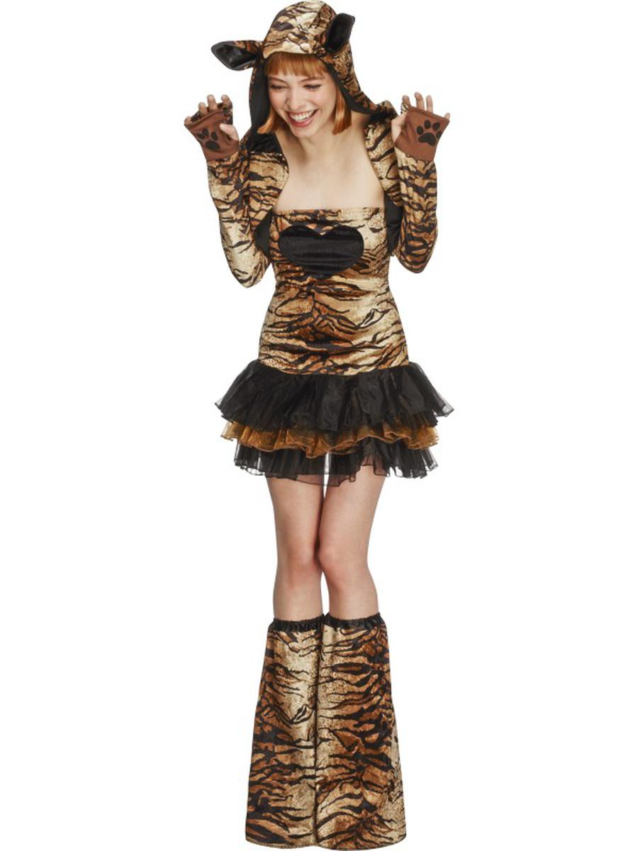 4-PC-Women's-Tiger-Tutu-Dress-&-Hooded-Jacket-w/-Bootcovers-Party-Costume