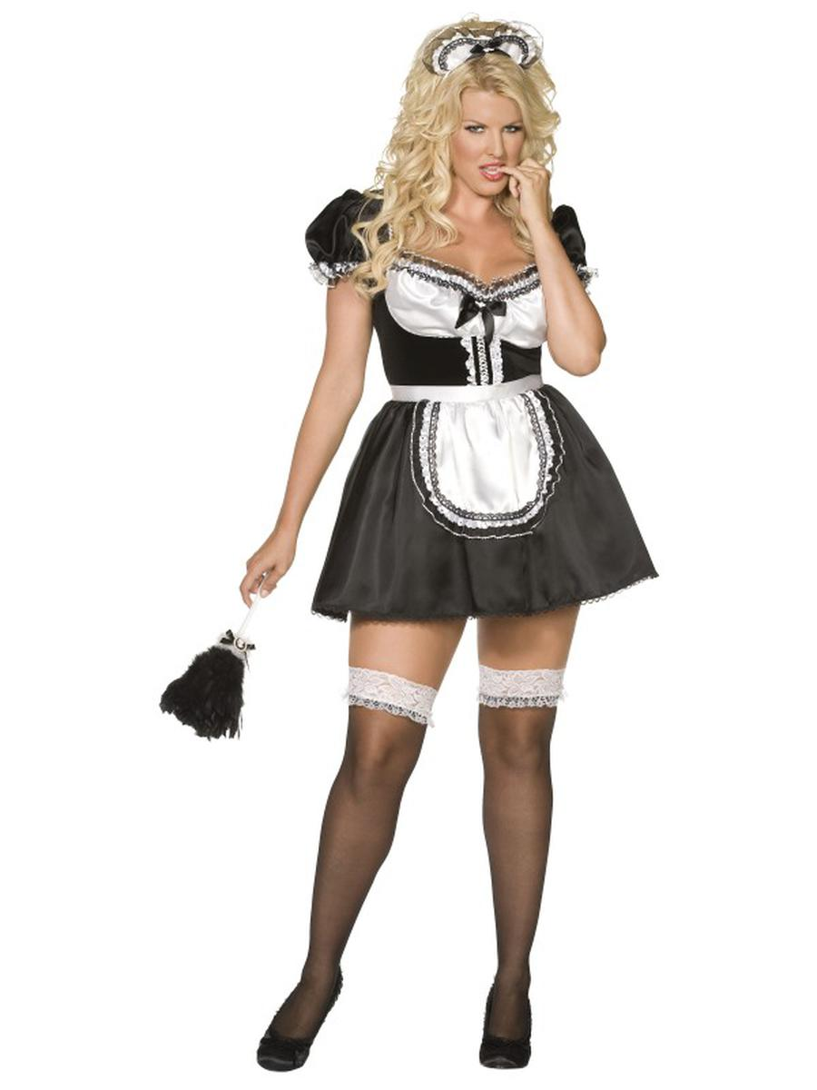 3-PC-French-Maid-Black-Dress-&-Apron-w/-Headband-Party-Costume---Plus-Size