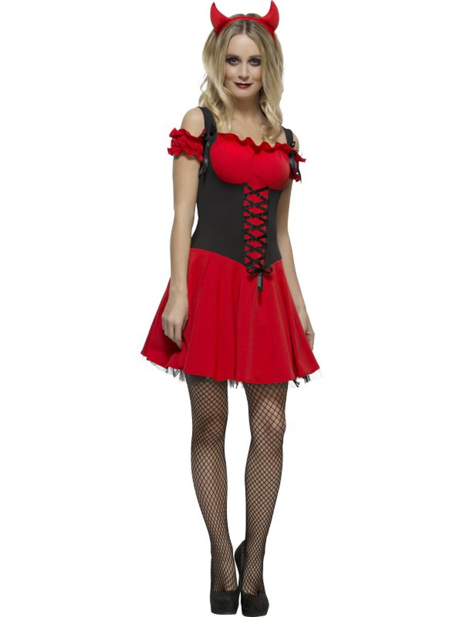 2-PC-Women's-Devil-Demon-Red-Lace-Up-Dress-w/-Horns-Party-Costume